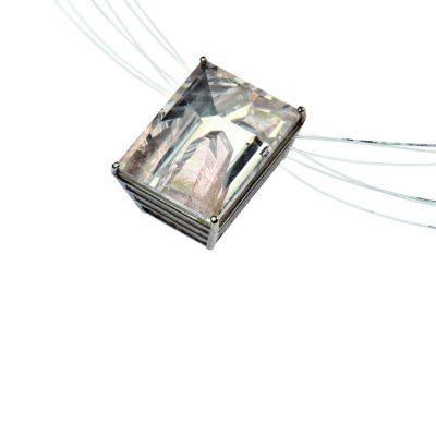 925/-Silber Edelstahl Nylonseil 1 Positivkristallquarz 35,019 ct rechteckig