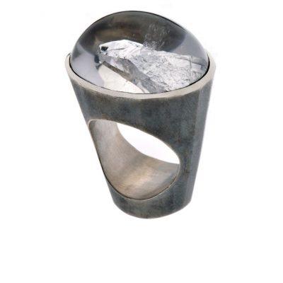 925/-Silber oxidiert 1 Bergkristall 60,823 ct Cabouchon