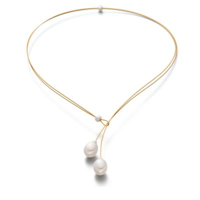 Collier Stahlseil vergoldet 47cm Perlen 3mm Perle als Stop
