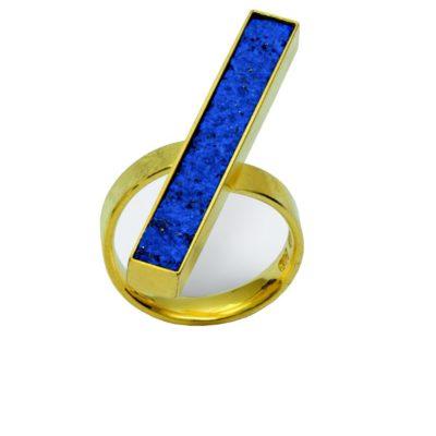 Ring 750/-Gelbgold Lapis Latuli natürlich gebrochen