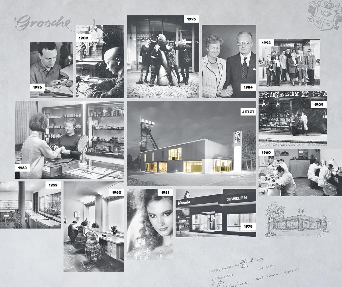Die Collage zeigt die 111-jährige Geschichte des Galeriehauses Grosche in Castrop-Rauxel, Kreis Recklinghausen - Juweliere seit 1909, Goldschmiede seit 1993, Galeriehaus seit 2006.