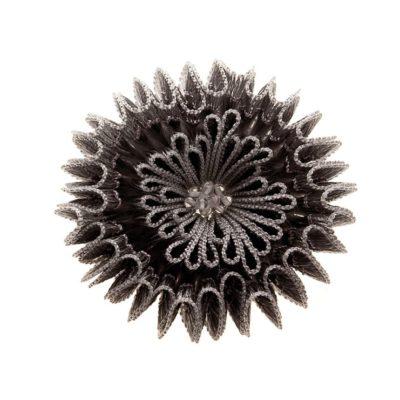 Linea II Brosche Naturseide mit Nylon 925/-Silber geschwärzt