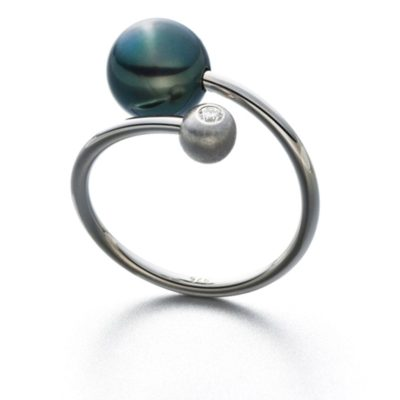 Ring Loop Tahiti Silber rhodiniert Tahitiperle Brillant 0,03ct