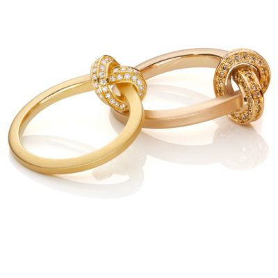 750/-Rosegold Brillanten light brown 750/-Gelbgold Brillanten