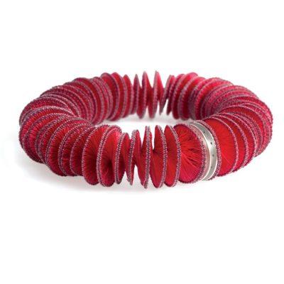 Pink Rise Armreif Naturseide mit Nylon 925/- Silber geschwärzt