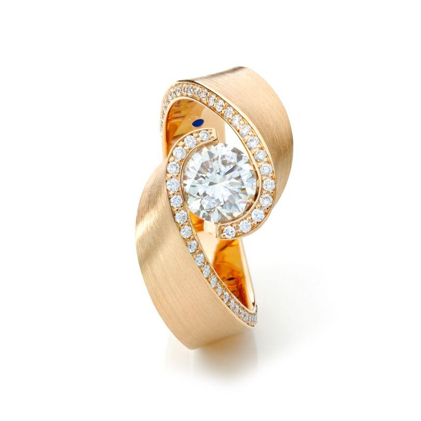 Umarmung, Schmuckwerk, Verlobungsring, 750/- Rosegold, Brillanten